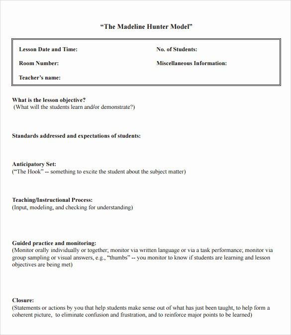 Madeline Hunter Lesson Plans Inspirational Sample Madeline Hunter Lesson Plan – 11 Documents In Pdf