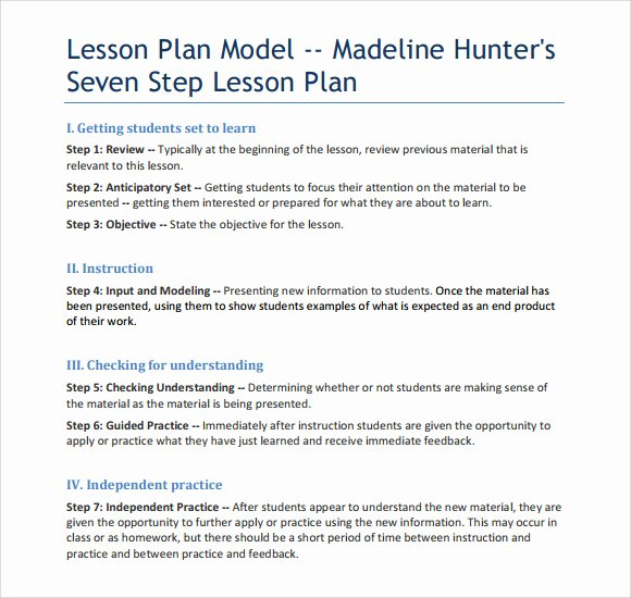 Madeline Hunter Lesson Plans Lovely Sample Madeline Hunter Lesson Plan – 11 Documents In Pdf