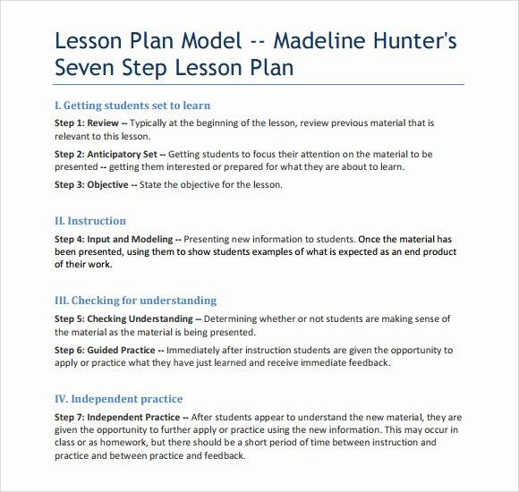 Madeline Hunter Lesson Plans Lovely Sample Madeline Hunter Lesson Plan – 11 Documents In Pdf