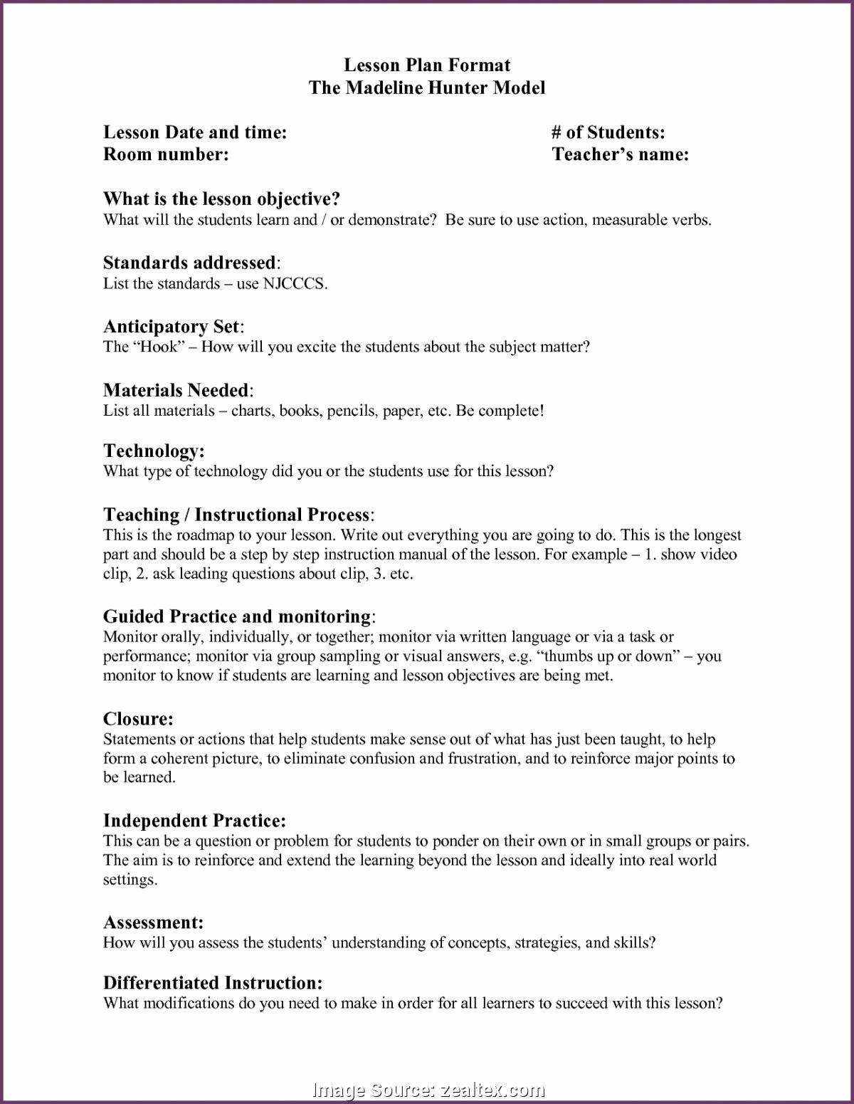 Madeline Hunter Lesson Plans Unique Regular Example Madeline Hunter Lesson Plan In Language