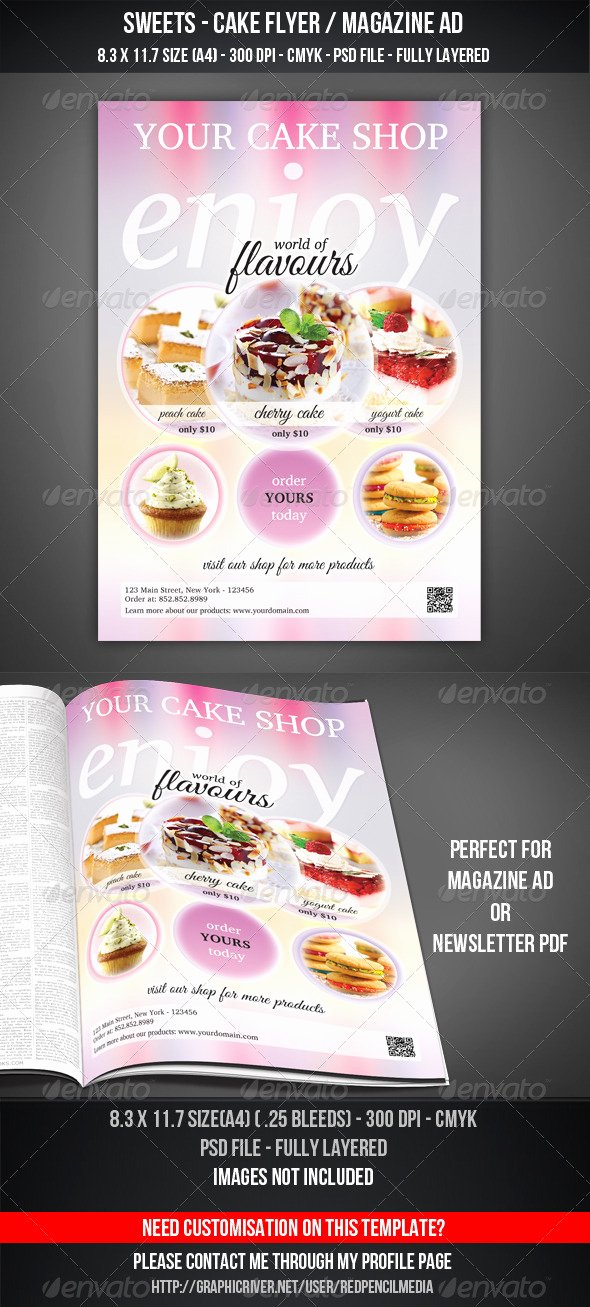 Magazine Ad Template Free Fresh Sweets Cake Flyer Magazine Ad