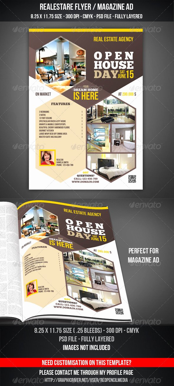 Magazine Ad Template Free Lovely Real Estate Open House Flyer Magazine Ad by