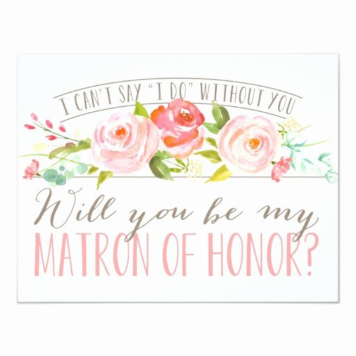 Maid Of Honor Card Template Unique Will You Be My Matron Of Honor Bridesmaid Card