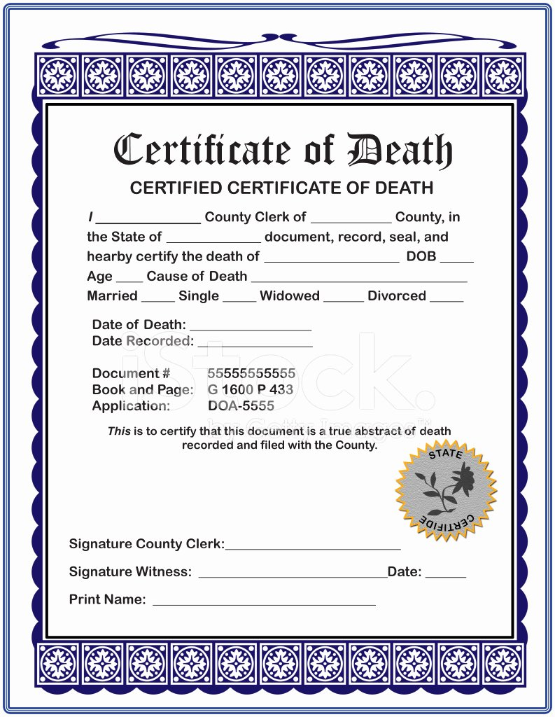 Make A Fake Death Certificate Fresh Blank Certificate Of Death Stock S Free