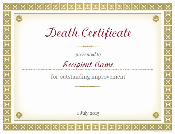 Make A Fake Death Certificate New Sample Death Certificate Template – 11 Free Word Pdf
