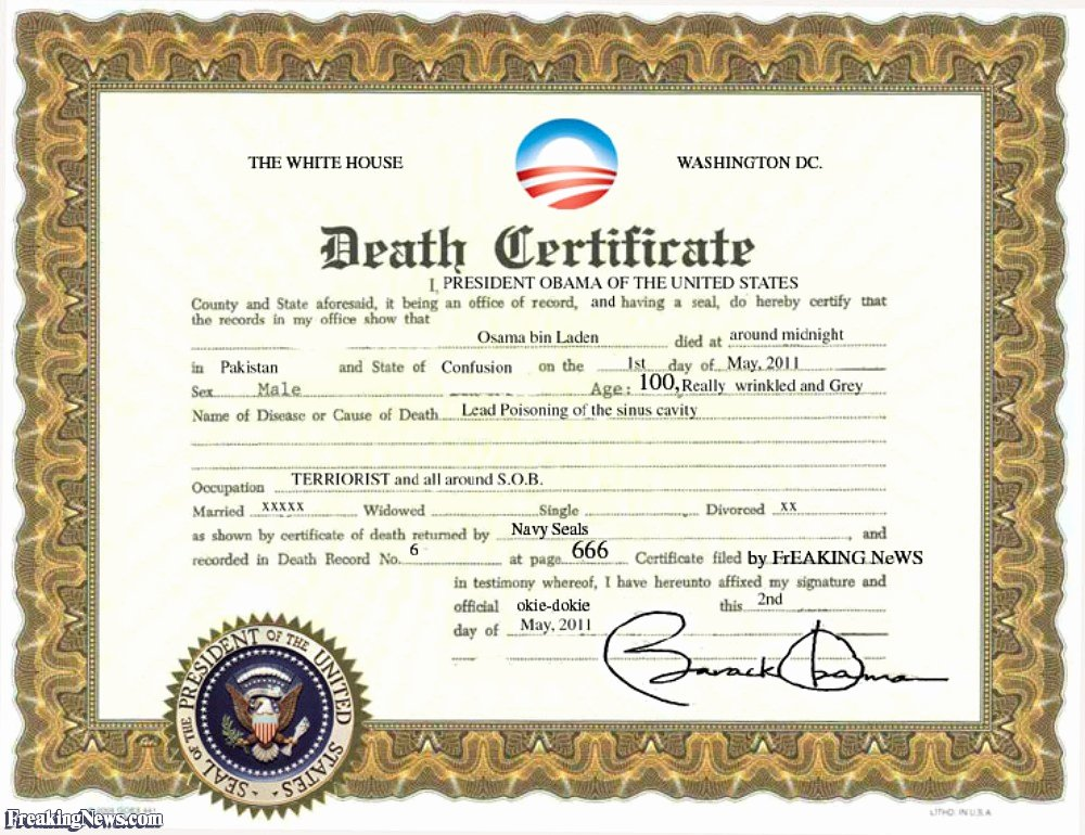 Make A Fake Death Certificate Unique Osama S Death Certificate Freaking News