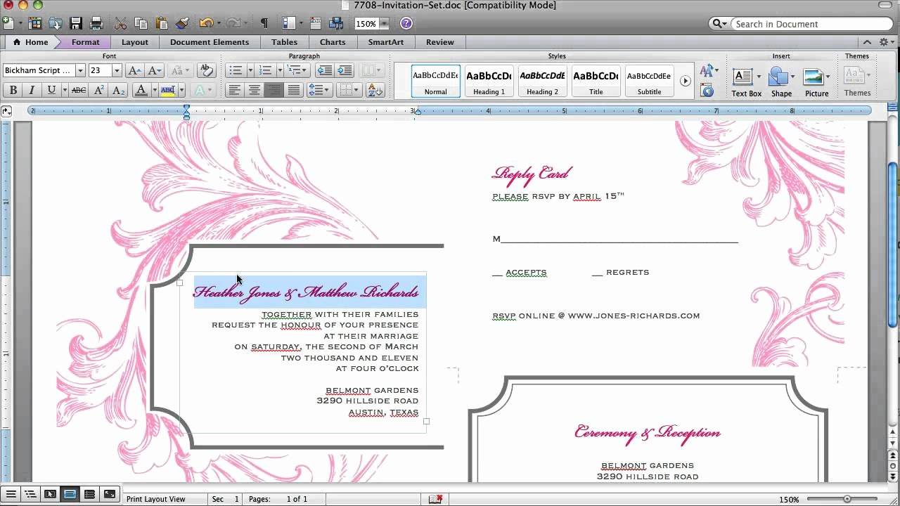 Make An Invitation In Word Elegant How to Customize An Invitation Template In Microsoft Word