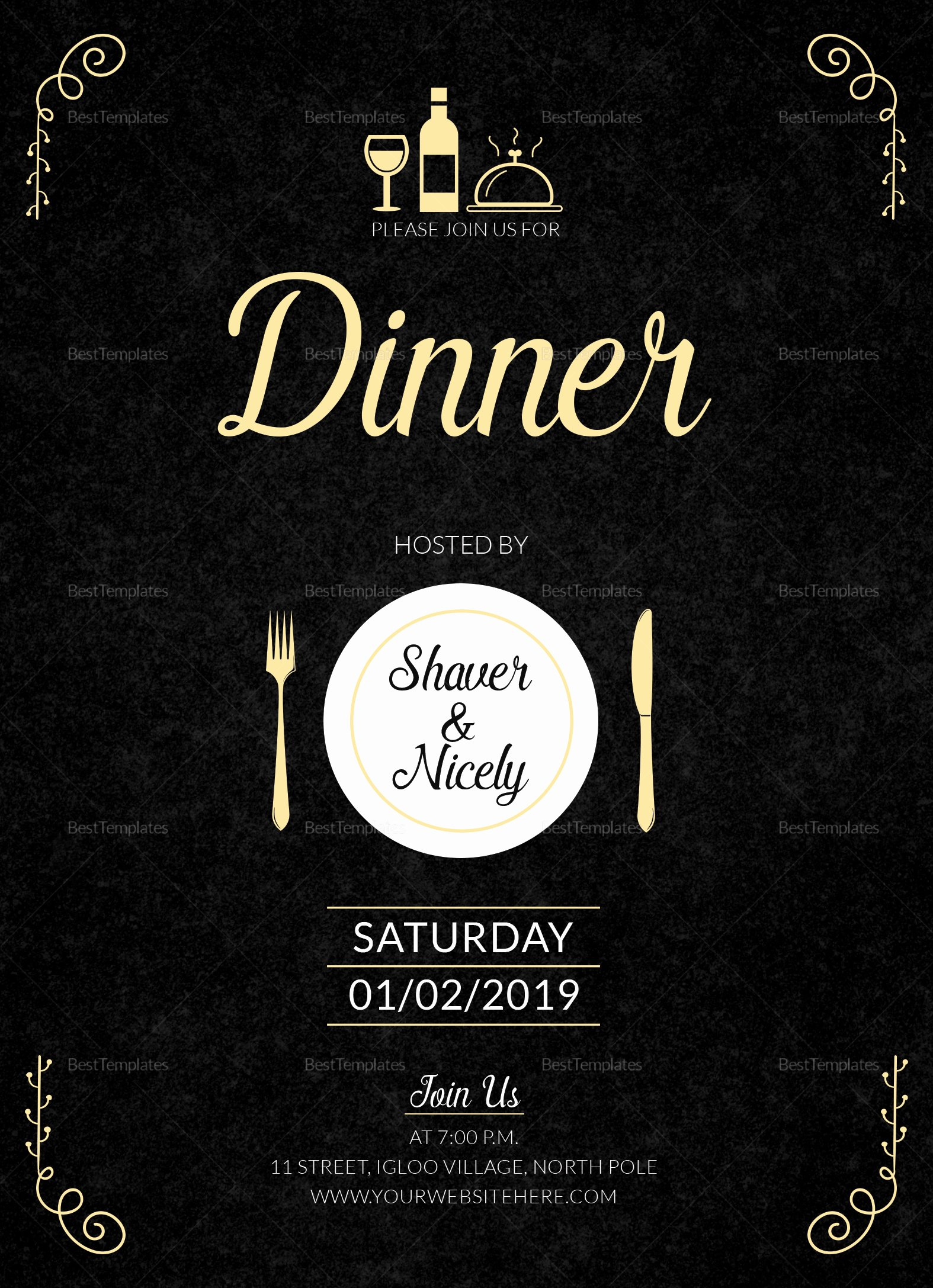 Make An Invitation In Word Luxury Dinner Invitation Card Design Template In Word Psd Publisher