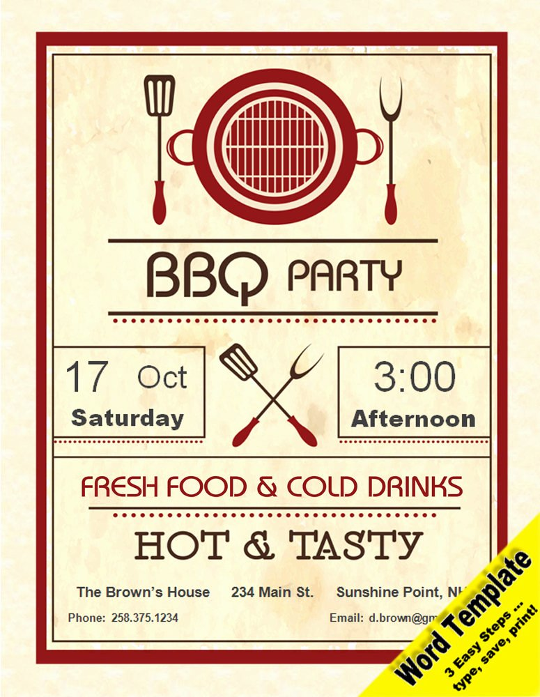 Make An Invitation In Word Unique Barbecue Party Invitation Editable Word Template Printable