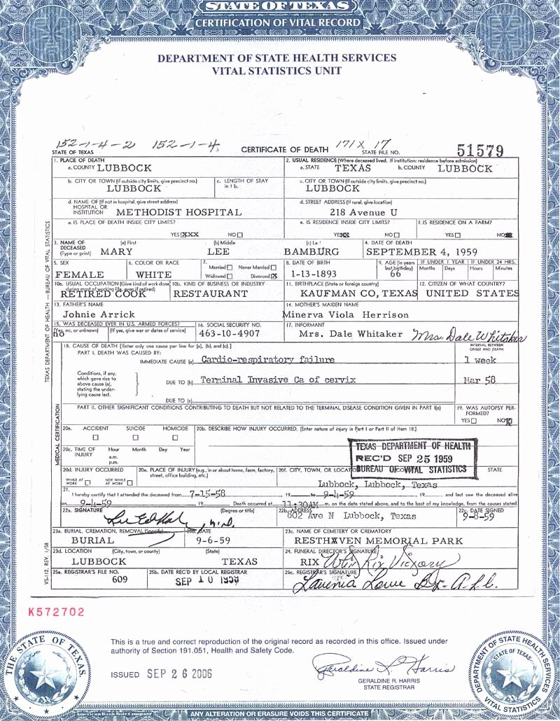 Make Fake Death Certificate Beautiful Best S Of Texas Death Certificate Texas Death