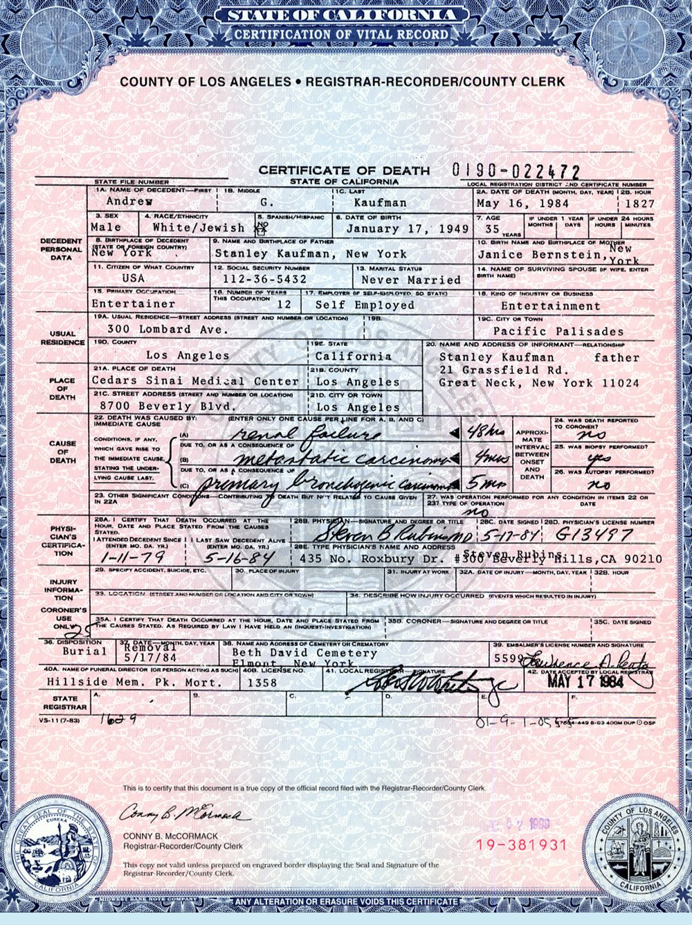 Make Fake Death Certificate Fresh Kaufman andy Shepquest