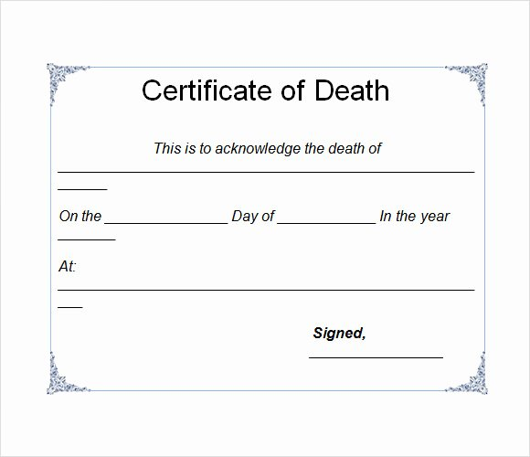 Make Fake Death Certificate Fresh Sample Death Certificate Template 7 Download Documents