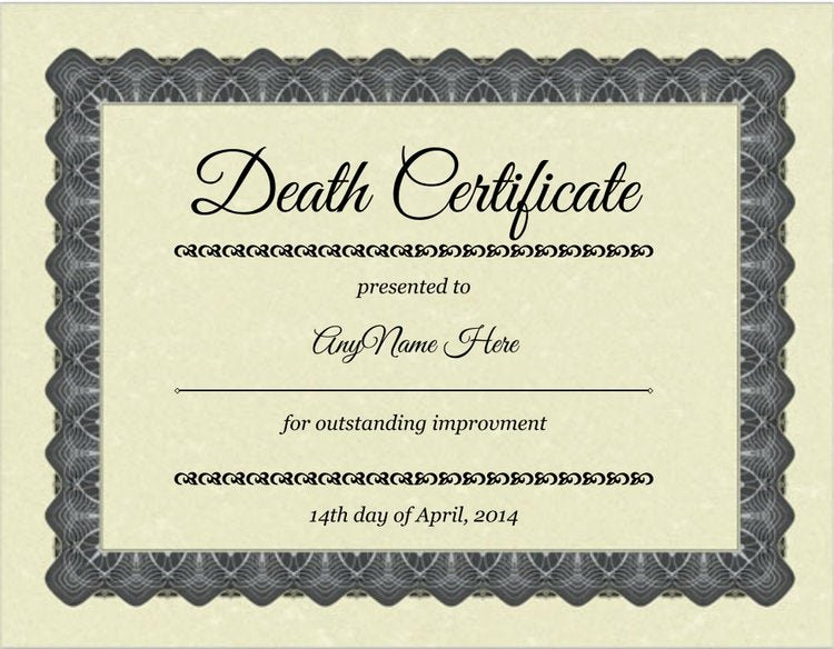 Make Fake Death Certificate Luxury Novelty Fake or Gag Death Certificate Don T See by