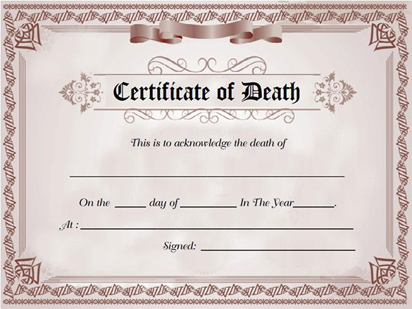 Make Fake Death Certificate Unique 7 Death Certificate Templates Psd Ai Illustrator Word