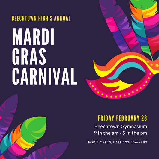 Mardi Gras Invitation Template Free Awesome Purple Simple Mardi Gras Invitation Templates by Canva