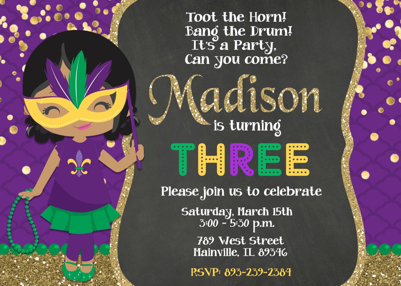 Mardi Gras Invitation Template Free Beautiful Mardi Gras Birthday Party Invitation Mardi Gras Party theme