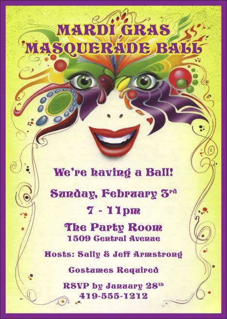 Mardi Gras Invitation Template Free Best Of Mardi Gras Masquerade Invitation