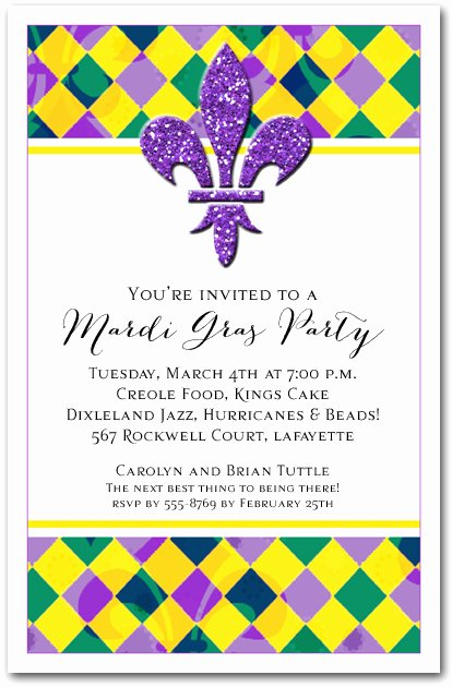 Mardi Gras Invitation Template Free Elegant Harlequin Fluer De Lis Mardi Gras Party Invitations