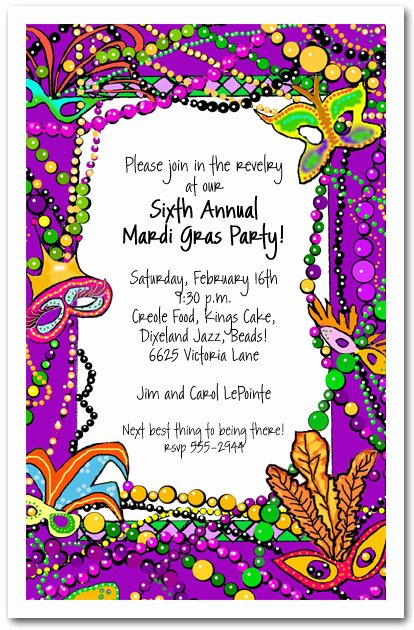 Mardi Gras Invitation Template Free Elegant Mardi Gras Fun Party Invitation Mardi Gras Invitations