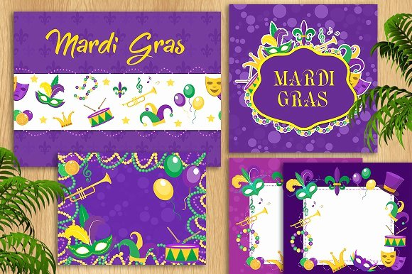 Mardi Gras Invitation Template Free Fresh Mardi Gras Template Set Templates Creative Market