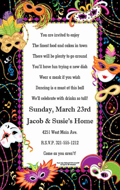 Mardi Gras Invitation Template Free Inspirational Free Printable Mardi Gras Invitation