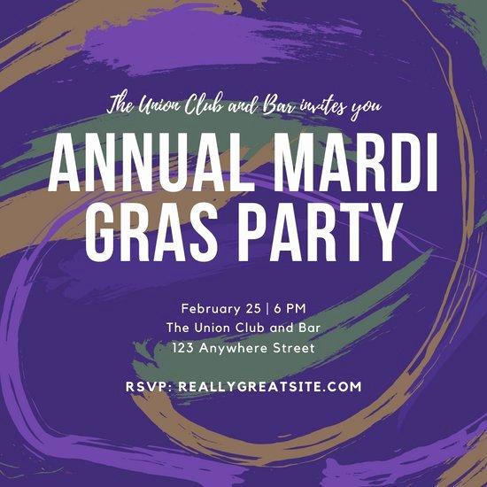 Mardi Gras Invitation Template Free Lovely Customize 76 Mardi Gras Invitation Templates Online Canva
