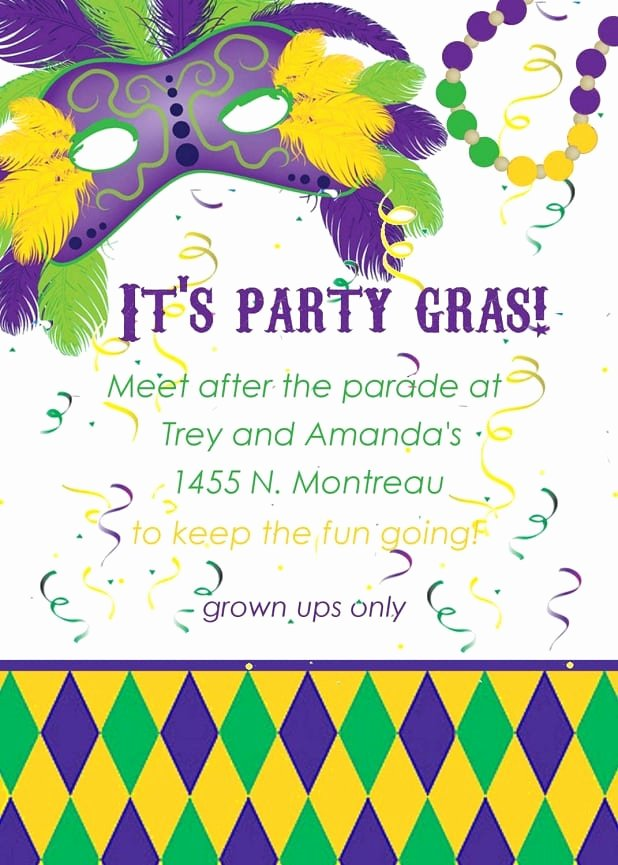 Mardi Gras Invitation Template Free Lovely Mardi Gras Invitation Template