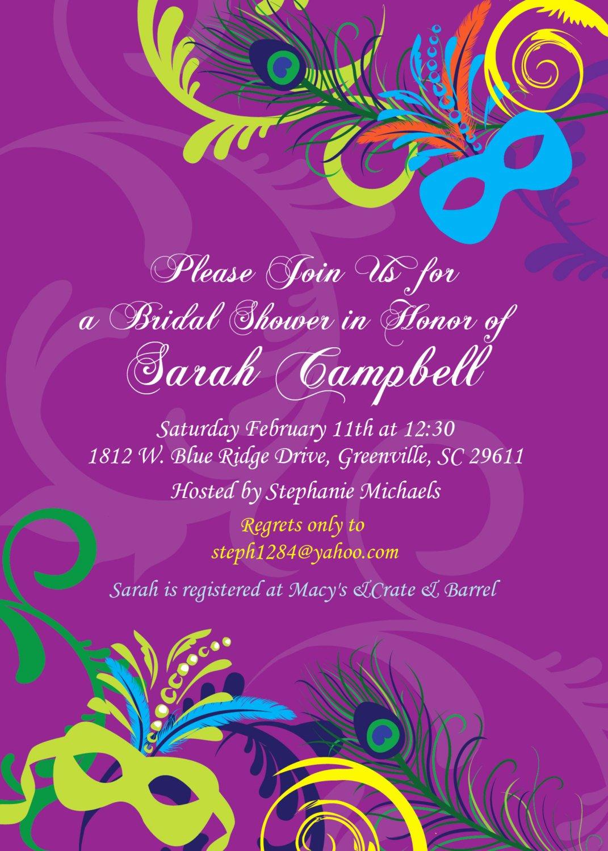 Mardi Gras Invitation Template Free Luxury Bridal Shower Invitations Mardigras Mardi Gras Wedding