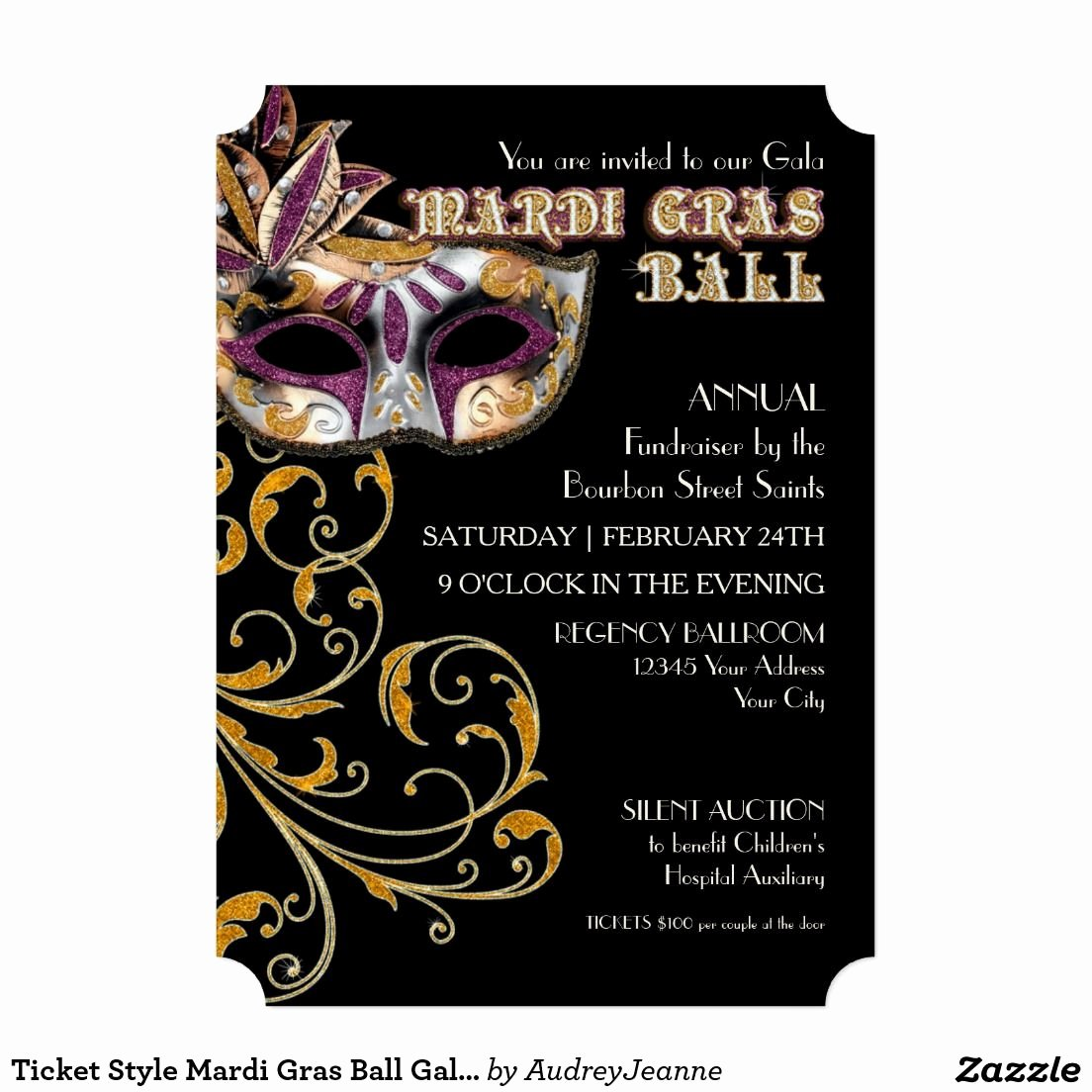 Mardi Gras Invitation Template Free Luxury Ticket Style Mardi Gras Ball Gala Party Fundraiser