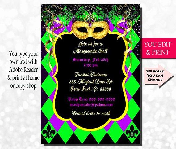Mardi Gras Invitation Template Free New Mardi Gras Invitation Mardi Gras Party Invitation Masquerade
