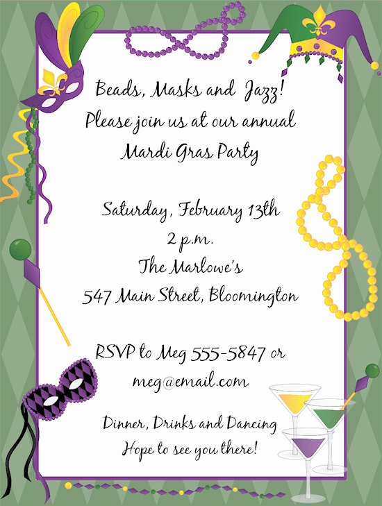 Mardi Gras Invitation Template Free New Mardi Gras Invitation