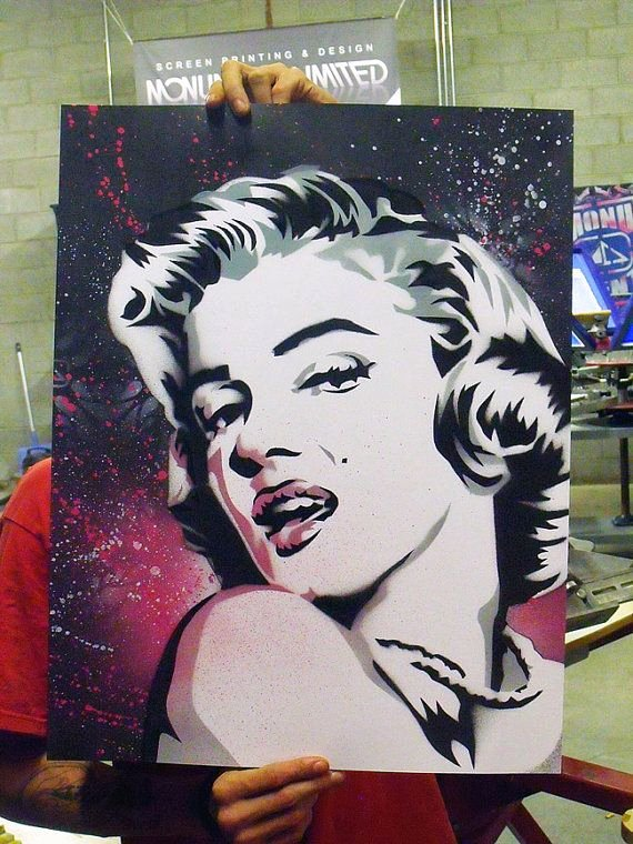 Marilyn Monroe Stencil Art Unique Marilyn Monroe Stencil Painting by Monumentltd On Etsy