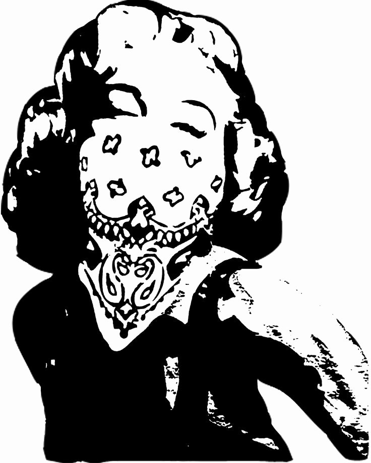 Marilyn Monroe Stencil Template New Marilyn Monroe Stencil Wearing A Bandana One Stencil Was