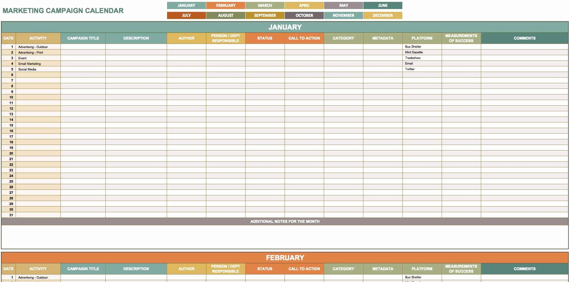 Marketing Campaign Template Awesome 9 Free Marketing Calendar Templates for Excel Smartsheet