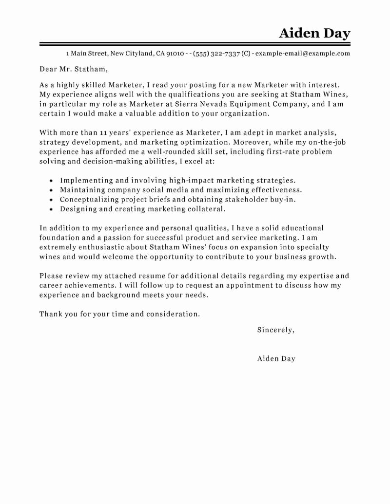 Marketing Cover Letter Sample Awesome Best Marketing Cover Letter Examples