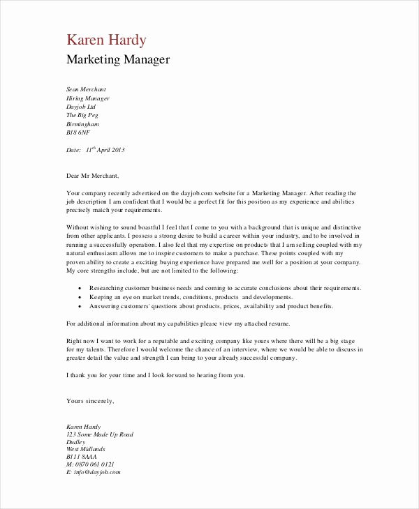 Marketing Cover Letter Sample Fresh 11 Marketing Cover Letter Templates Free Sample