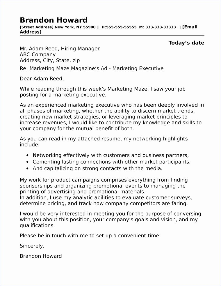 Marketing Cover Letter Sample Fresh 40 Free Cover Letters for Sales and Marketing Jobs