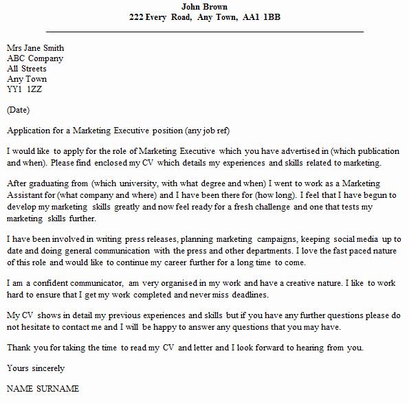 Marketing Cover Letter Sample Inspirational Marketing Executive Cover Letter Example Icover