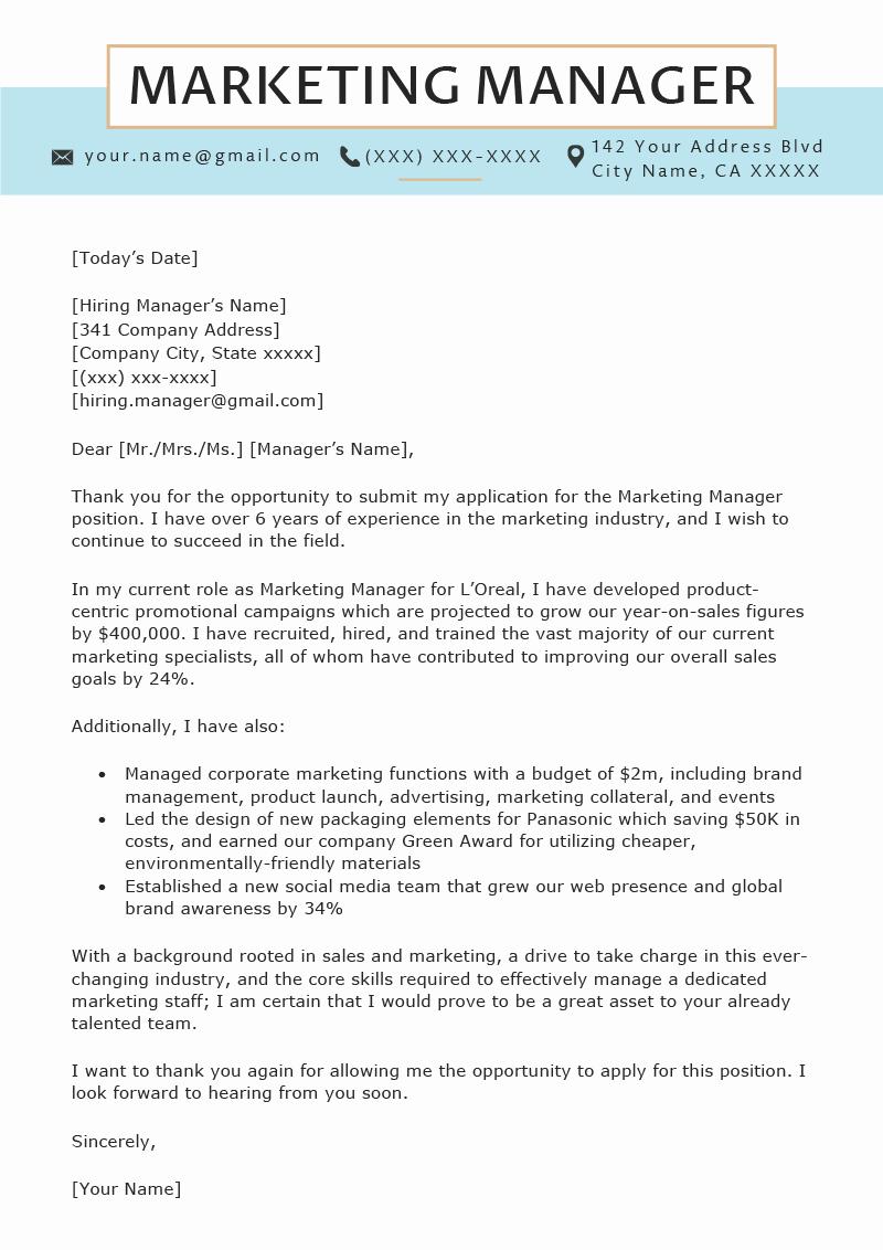 Marketing Cover Letter Sample Inspirational Marketing Manager Cover Letter Sample