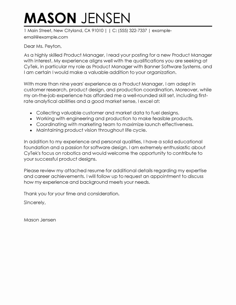 Marketing Cover Letter Sample Luxury Product Manager Cover Letter Examples