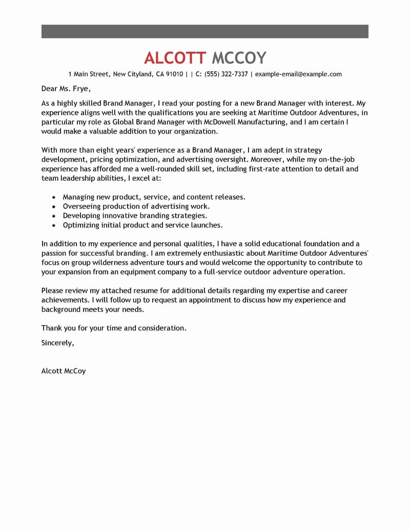 Marketing Director Cover Letter Awesome Best Brand Manager Cover Letter Examples