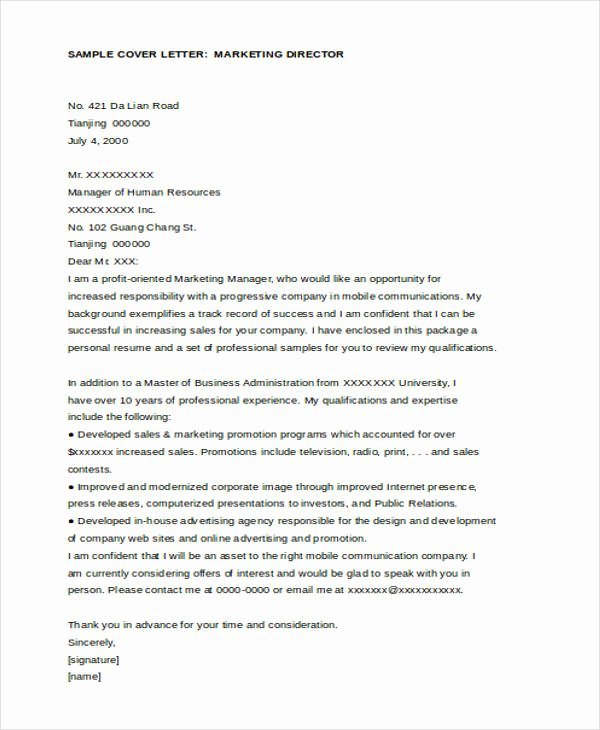 Marketing Director Cover Letter Elegant 11 Marketing Cover Letter Templates Free Sample