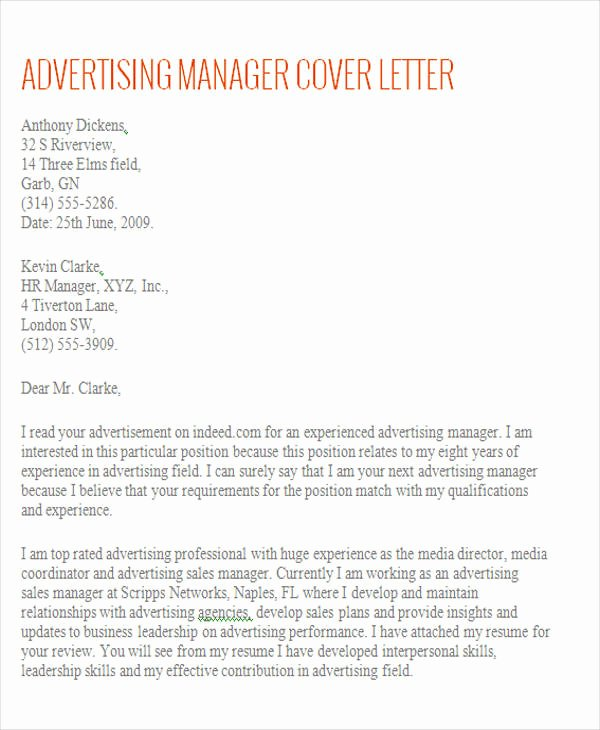 Marketing Director Cover Letter Fresh Account Manager Cover Letter 8 Examples In Word Pdf