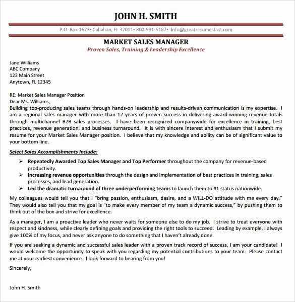 Marketing Director Cover Letter Lovely Sales Cover Letter Template 8 Free Samples Examples