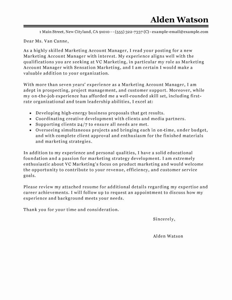 Marketing Director Cover Letter Luxury Best Account Manager Cover Letter Examples