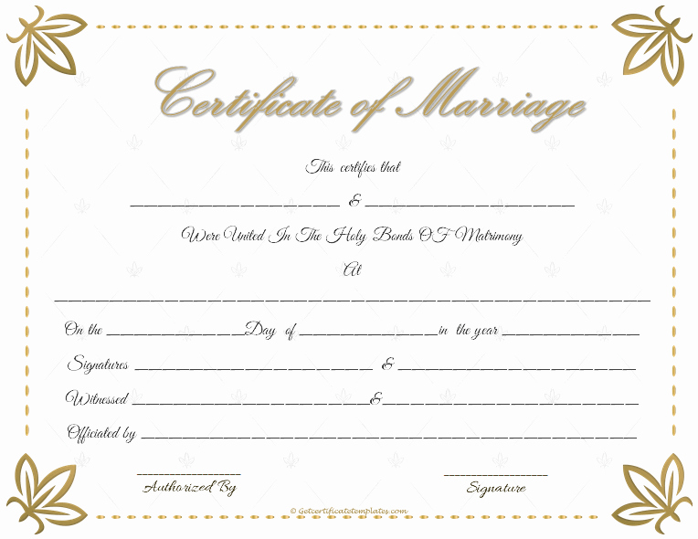 Marriage Certificate Template Word New Marriage Certificate Template Write Your Own Certificate