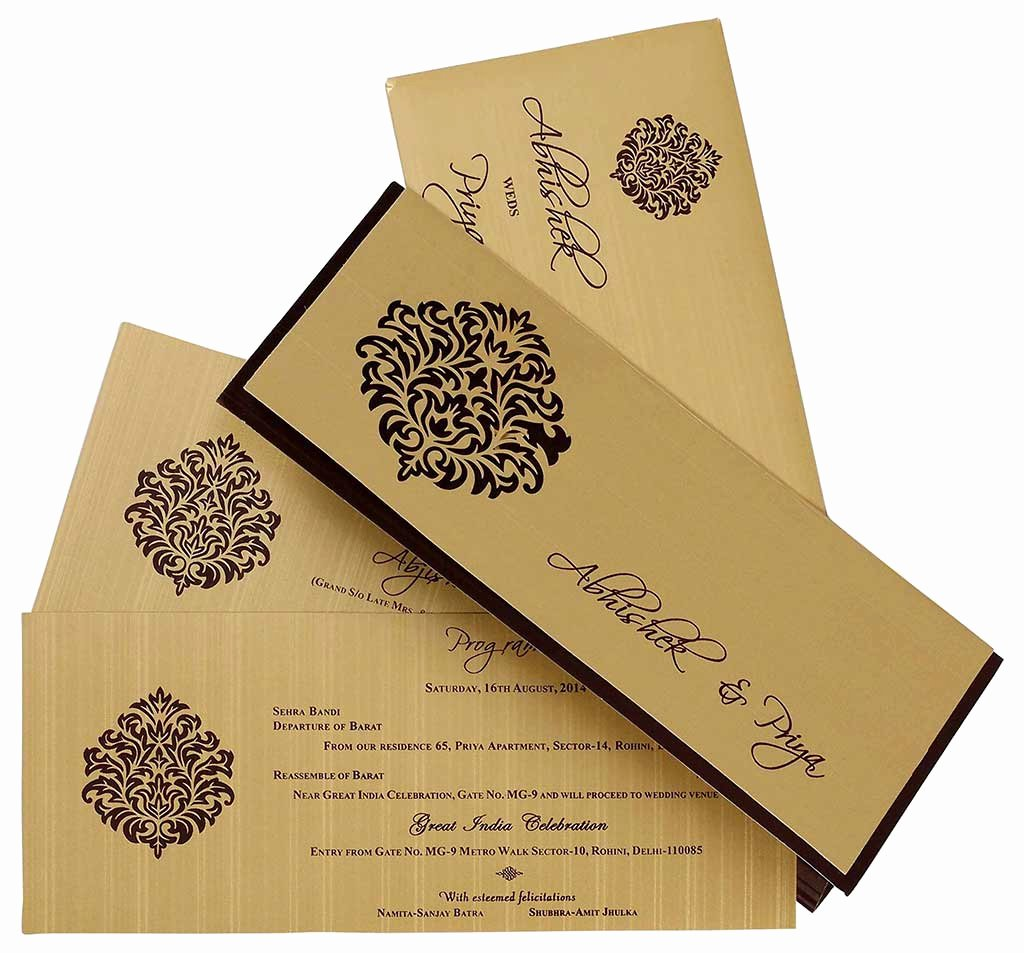 Marriage Invitation Card Design Awesome Indian Wedding Card In Brown and Golden with Cutout Design