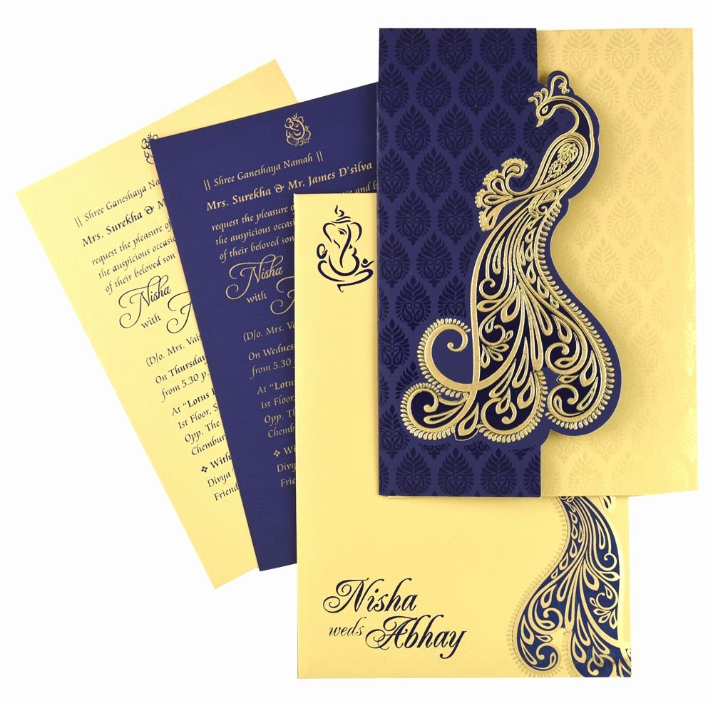 Marriage Invitation Card Design Awesome Nds53 Blue Color Shimmery Finish Paper Designer