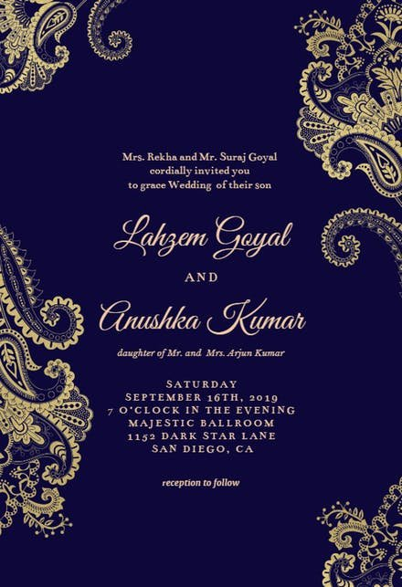 Marriage Invitation Card Design Elegant Line Invitation Maker Free