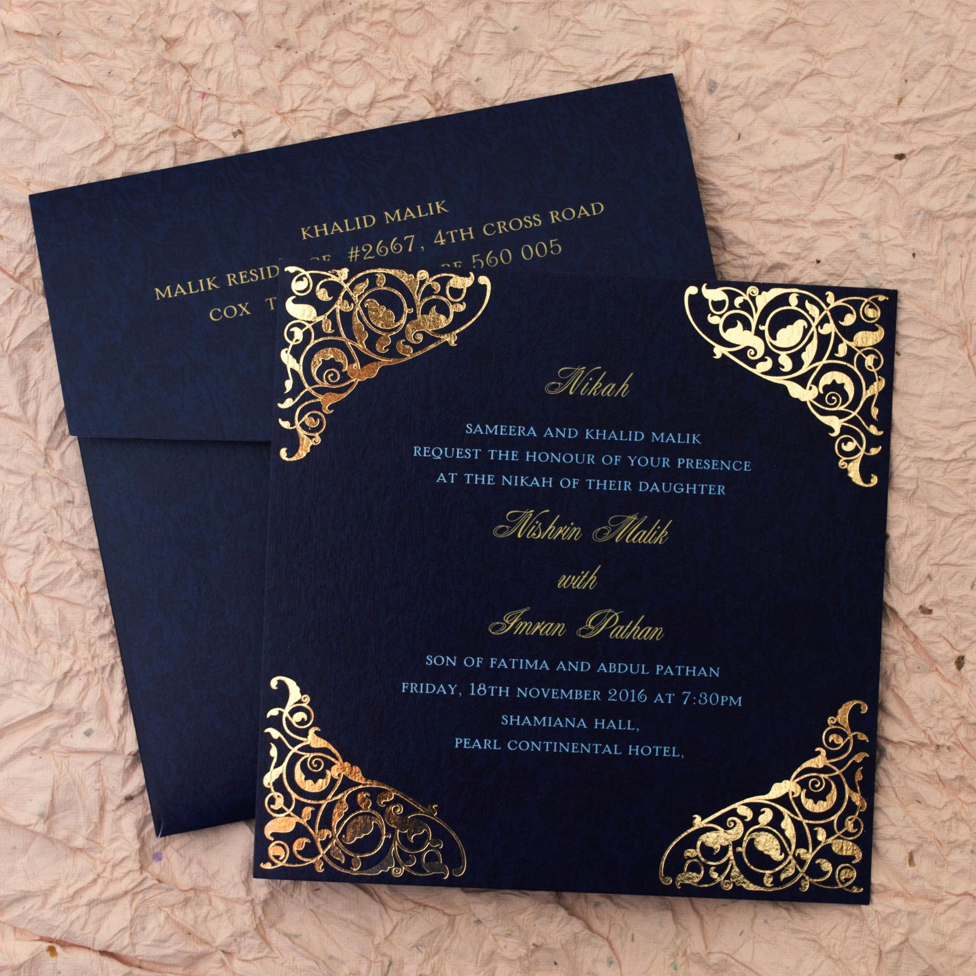 Marriage Invitation Card Design New Gulshan Blue Wedding islamic Cards Add A touch Of
